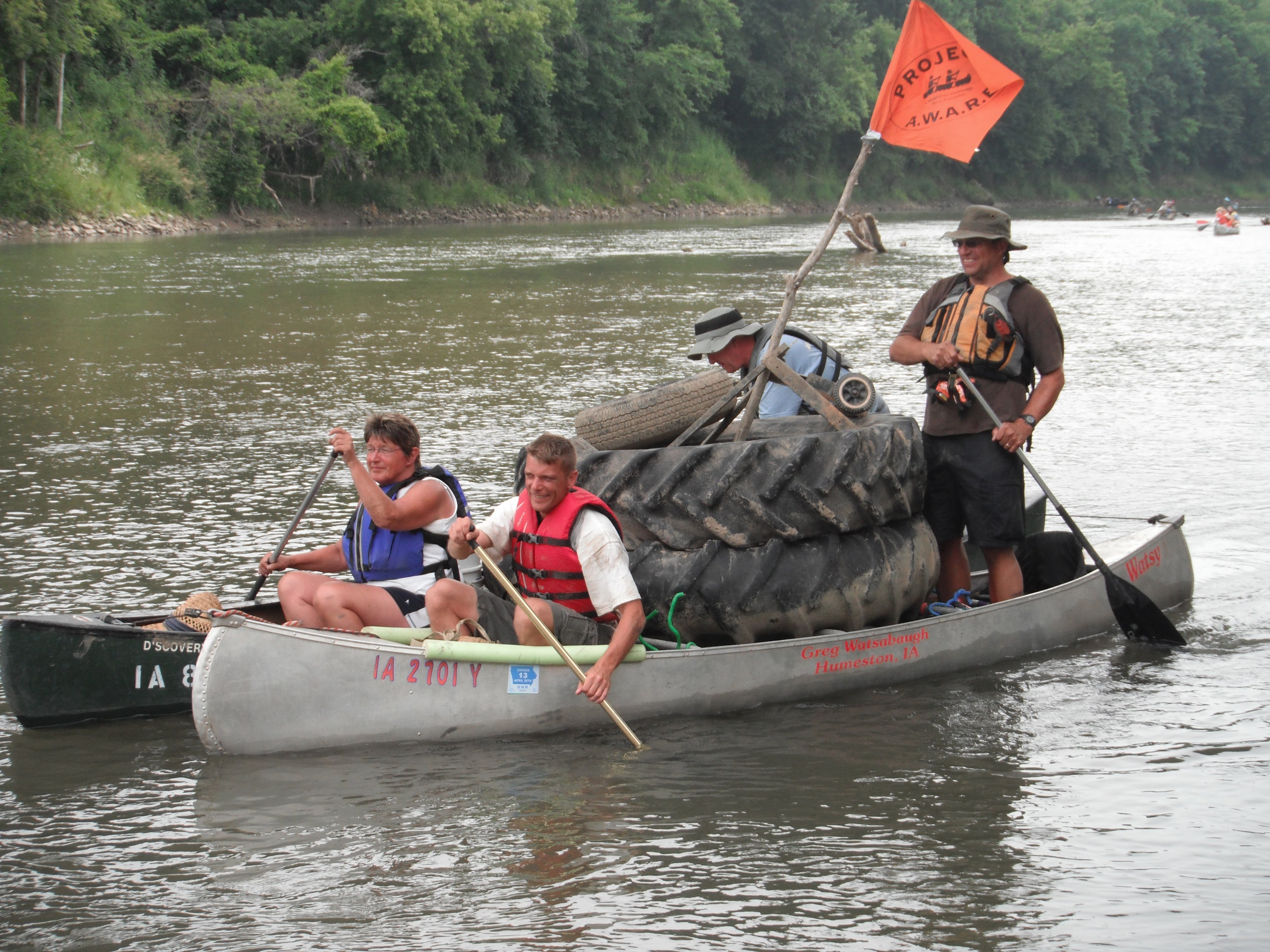 Canoers with Tractor tire